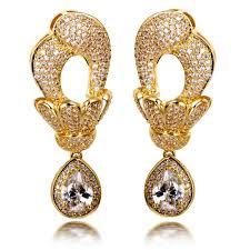 dubai jewellery large dangle earrings with big tear drop pendant cubic zirconia women earrings micro pave setting bridal wedding dubai jewellery large