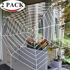 Halloween 2 Pack 11ft Mega Spider Web for Halloween Outdoor Decoration - 1  Black and 1