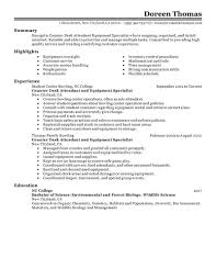 Best Counter Desk Attendant Equipment Specialist Resume Example