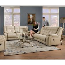 simmons loveseat. simmons upholstery miracle bonded leather double motion console loveseat - pearl | hayneedle g