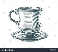vintage tea cup vector.  Vector Hand Drawn Tea Cup Illustration In Engraving Style For Menu Or Cafe Black Vintage  Inside Vintage Tea Cup Vector E