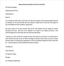 Letter Of Recommendation For Internship Sample Recommendation Letter To Follow For The Best Of It