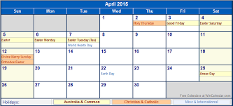 Calendar Format 2015 April 2015 Australia Calendar With Holidays For Printing