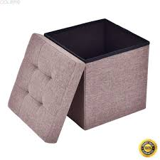 colibrox folding storage cube ottoman seat stool box footrest furniture decor brown new collapsible