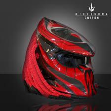 Predator Motorcycle Helmet Designs Red Carbon Black Predator Helmet