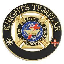 Knights Templar Round Masonic Auto Emblem - [Black & Gold][3'' Diameter]