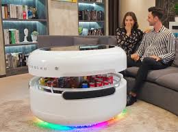 space age coffee table has built in