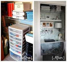 home office in a cupboard.  Office IHeart Organizing August Featured Space Bedroom  Conquering Closets  Part 3 In Home Office A Cupboard