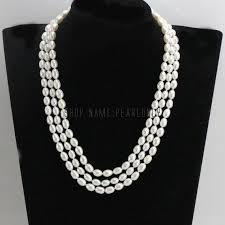 Three line <b>pearl necklace</b>,multistrand <b>pearl necklace</b>,<b>real freshwater</b> ...