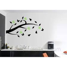 tree branch with flowers and erflies home wall art mural sticker decals
