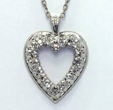 diamond heart pendant necklace 14k white gold 18 g vs rounds 25ct cable chain