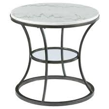 hammary impact bronze with silver metal white marble round end table 576 918