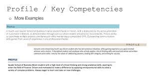 Profile / Key Competencies o More Examples ...