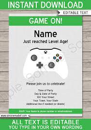 Birthday Invitations Printable Xbox Party Invitations Template Video Game Party Invite