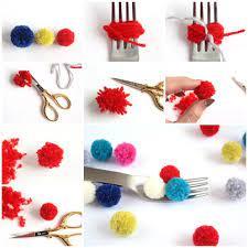 easy diy mini yarn pom poms using a fork