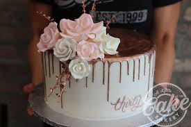 Rose Gold Drip Cake 30th Birthday Cake With Pink And White Roses