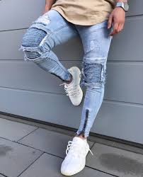 Light Blue Jeans Streetwear 2019 Mens Straight Slim Fit Hole Biker Jeans Light Colored Washed Pencil Pants Ripped Destroyed Denim Jeans Hip Hop Streetwear Blue From Dhgateshark