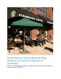 sample business studies research paper summary on launching starbucks