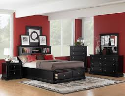 black and white furniture bedroom. Bedroom With Black Furniture. Furniture White Rug And Blue Wall Red Paint