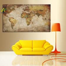 ywdecor large size vintage world map painting hd print on canvas wall art picture europe modern