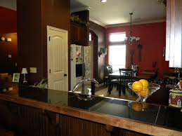 Open Kitchen And Dining Room Designs Awesome Red Open Floor Kitchen And Dining Room With Five Lamp