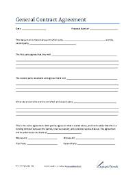 Simple Contractor Agreement Template General Contract Agreement Template Business Contract