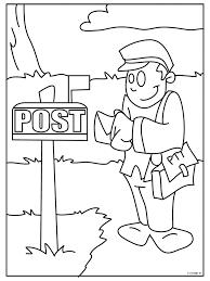 Kleurplaat Postbode Kleurplatennl