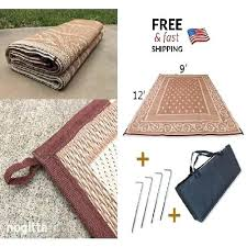 details about patio mat reversible outdoor rug camping indoor 6 stakes bag 9x12