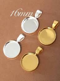 100 tiny 16mm bezels pendants circles