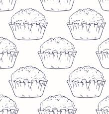 Free Outline Seamless Background With Muffins Vector Free Vector