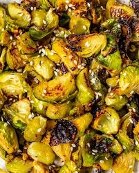 roasted miso glazed brussels sprouts