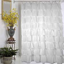 white ruffle shower curtain. White Carmen Ruffled Bouffant Fabric Shower Curtain. Bright Blue And Yellow Bathroom. Use Coordinating Ruffle Curtain