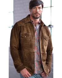 zoomed image ryan michael men s painted leather shirt jacket brown