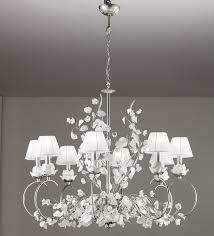 50017 8lp ceramic and iron chandelier with roses and leaves