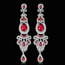 1 of 11free ik long crystal drop earrings diamante bridal chandelier rhinestone dangle prec