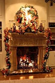 tv above decorated fireplace | Christmas Fireplace Mantel ...