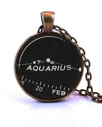 Aquarius Necklace Created From A Vintage Star Chart Published In 1937 January Birthday Gift February Birthday Gift