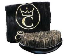 crown brush. crown quality products wave brush -onyx black-medium mixed boar/flex bristle- crown