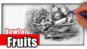 fruit bowl drawing with shading.  Drawing How To Draw A Fruit Bowl With Pencil In Drawing With Shading W