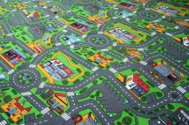 train track play rug roadway mat kids car road race city life baby toddler map