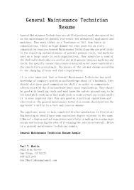 Maintenance Technician Resume Sample Resume For Maintenance Job Plks Tk