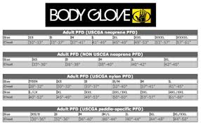Body Glove Size Chart Body Glove Method Uscg Approved Nylon Life Vest