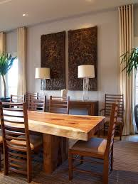 narrow dining room tables ladder back chairs wall hung panels wooden floor table lamps cabinets plants