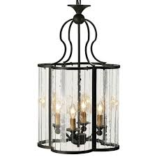 Rudolpho Wrought Iron Seeded Glass Clover Leaf Lantern Pendant - Cloverleaf home interiors