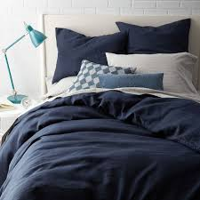 Belgian Flax Linen Duvet Cover + Shams – Midnight | west elm &  Adamdwight.com