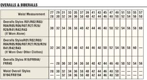 Carhartt Mens Fr Bib Overall Size Chart