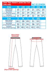 Cheerleading Uniform Size Chart