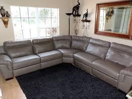 natuzzi julius five pc power triple electric reclining taupe leather sectional natuzzi modern