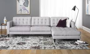 Contemporary Tufted Sofa With Oversized Chaise In Light Grey Grey Tufted Sofa E36