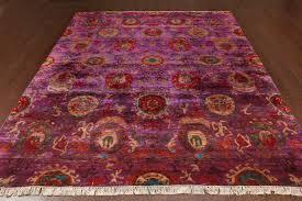 rugsville red rust sari silk rug 30013